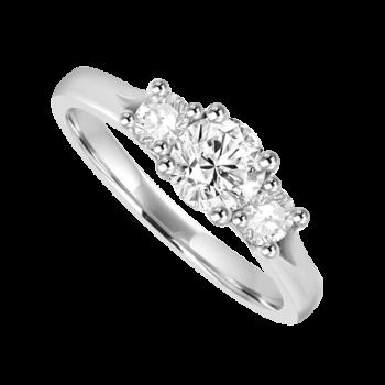 Platinum 3-stone 1.00ct Diamond Ring Engagement