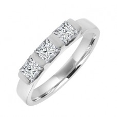 Platinum 3-Stone Princess cut Diamond Bar Set Ring