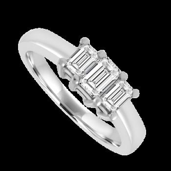 Platinum 3-Stone Emerald cut Diamond ring Engagement