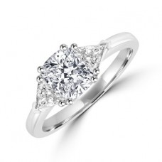 Platinum Three-stone Cushion & Trillion cut Diamond Ring