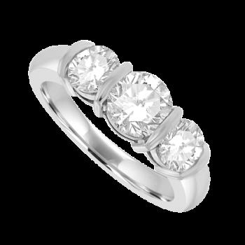Platinum 3-Stone Diamond Bar Set Ring Engagement