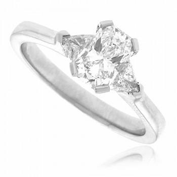 Platinum 3-Stone Phoenix & Trillion cut Diamond Ring Engagement