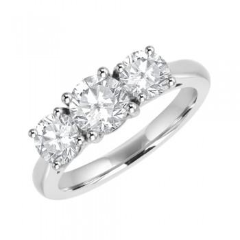 Platinum Three-stone Diamond Engagement Ring