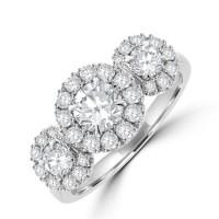 Platinum Three-stone Diamond Halo Cluster Ring
