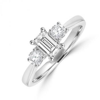 Platinum 3-stone GVVS1 Emerald cut & Brilliant Diamond Ring
