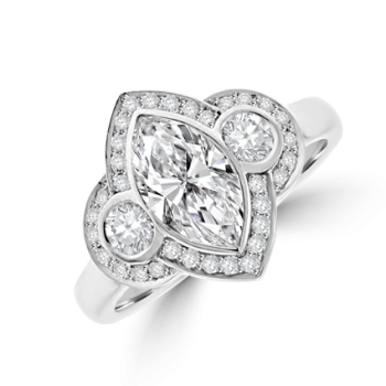 Platinum Three-stone Marquise & Brilliant Diamond Halo Ring