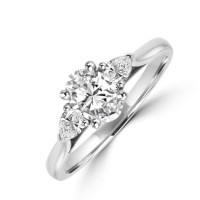 Platinum 3-stone Oval & Pear cut Diamond Engagement Ring