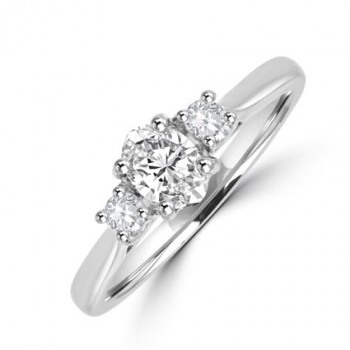 Platinum 3-stone Oval & Brilliant cut Diamond Engagement Ring