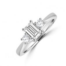 Platinum Three-stone Emerald & Brilliant Diamond Ring
