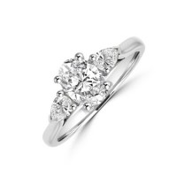 Platinum Three-stone Oval & Pear Diamond Ring