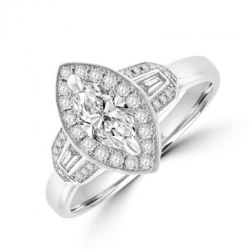 Platinum Marquise & Baguette Diamond Halo Ring