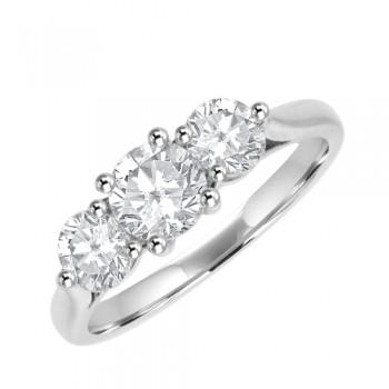 Platinum Three-stone 1.25ct Diamond Ring