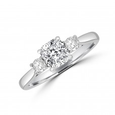 Platinum Three-stone ESi1 Cushion Diamond Ring