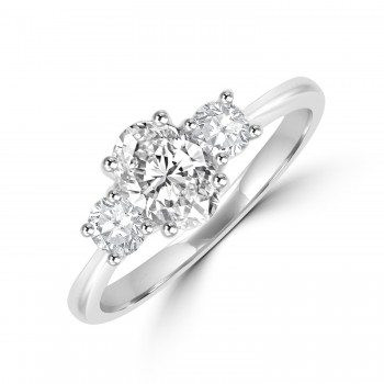 Platinum 3-stone Oval & Brilliant GVS2 Diamond Ring