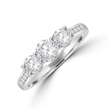 Platinum Three-stone GVS2 Diamond Ring