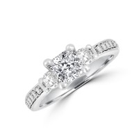 Platinum FVS1 Cushion Diamond Three-stone Ring