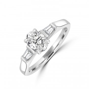 Platinum Oval EVS1 Diamond with Tapered Baguettes Ring
