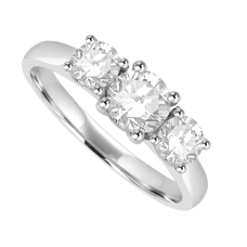 Platinum Three-stone .78ct Diamond Ring