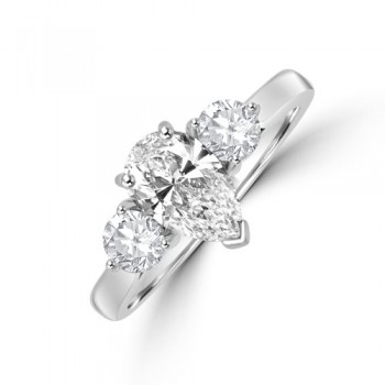 Platinum Three-stone Pear DSi2 Diamond & Brilliant cut Ring