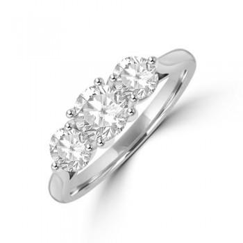 Platinum Three-stone .99ct Diamond 4x3 Claw Ring