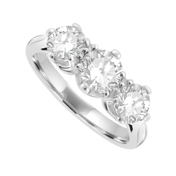 Platinum Three-stone Diamond Vintage style Ring