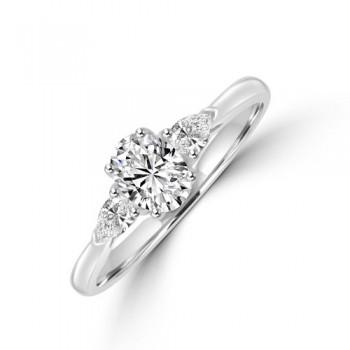 Platinum Oval DSI1 Diamond & Pear cut Diamond Ring