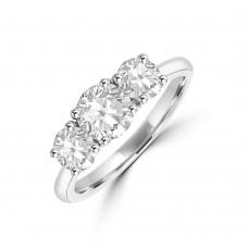 Platinum Three-stone DVS1 Diamond Ring
