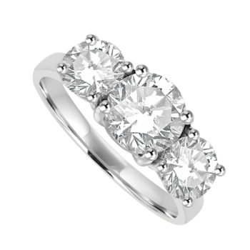 Platinum Three-stone DSi2 Diamond Ring