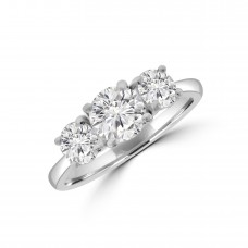 Platinum Three-stone 1.54ct ESi2 Diamond Ring