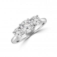 Platinum Three-stone 1.54ct ESi2 Diamond Ring