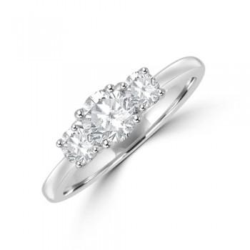 Platinum Three-stone .86ct ESi2 Diamond Ring