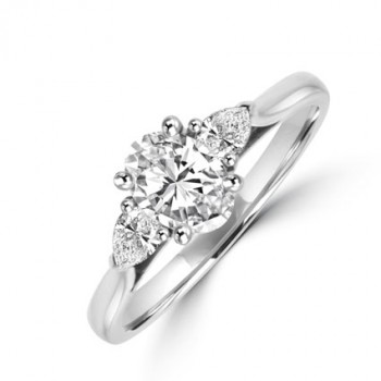 Platinum Oval FSi2 & Pear cut Diamond Ring