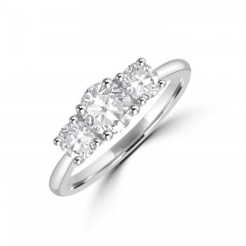 Platinum Three-stone DSi1 Diamond Ring