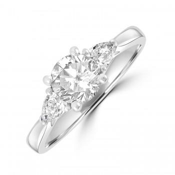Platinum Three-stone DSi2 Brilliant & Pear Diamond Ring