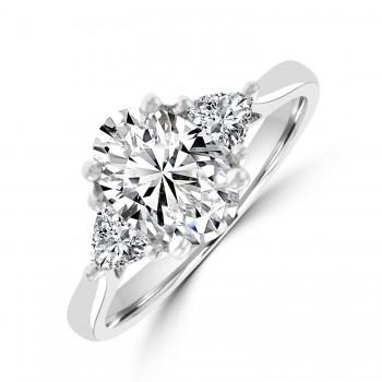 Platinum Three-stone Oval & Trillion ESi2 Diamond Ring