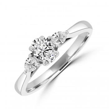 Platinum Three-stone Oval and Pear DSi1 Diamond Ring