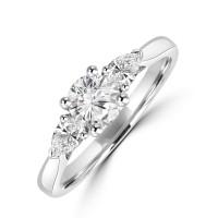 Platinum Three-stone FSi1 Brilliant & Pear Diamond Ring