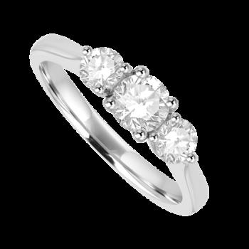 Platinum Three-stone FSi1 Diamond Ring