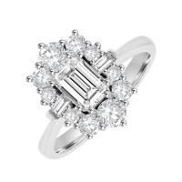 Platinum 13-stone Emerald cut Diamond Cluster Engagement Ring