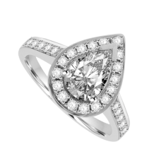 Platinum Pear cut Diamond Solitaire Halo Ring