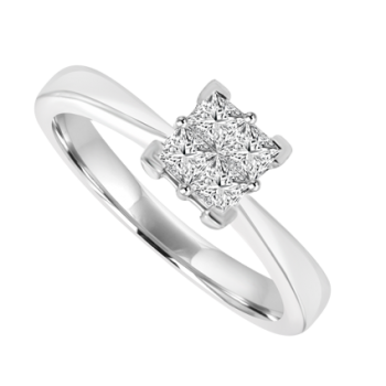 Platinum 4-Stone Princess cut Cluster Ring