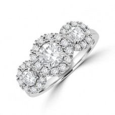 Platinum Three Stone Halo Ring 1.24ct