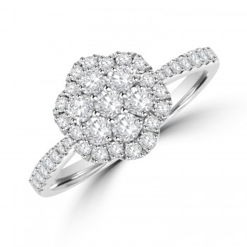 Platinum Diamond Flower Cluster Halo Ring