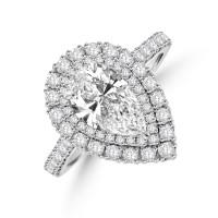 Platinum Pear cut 1.23ct FSi1 Diamond Halo Ring