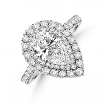 Platinum Pear cut 1.23ct ESi1 Diamond Halo Ring