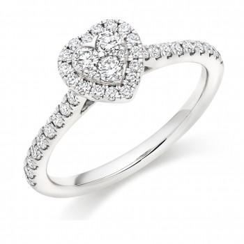 Platinum Diamond Heart Cluster Halo Ring