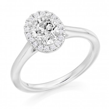 Platinum Oval cut Diamond Halo Ring