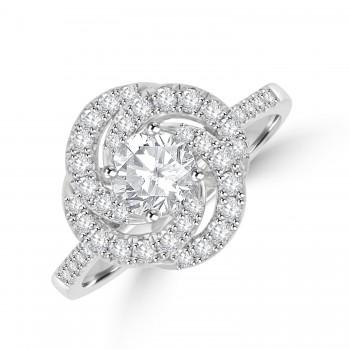 Platinum Solitaire FSi1 Diamond Swirl Cluster Ring
