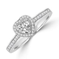 Platinum Solitaire Heart cut FVS1 Diamond Halo Ring