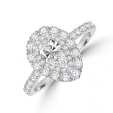 Platinum Pear GVS1 Diamond Double Halo Ring